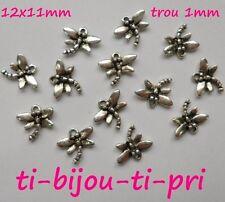 LOT de 20 PENDENTIFS perles breloques LIBELLULES 12x11mm ARGENTE création bijoux