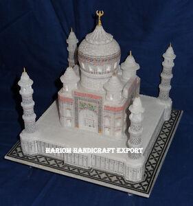 """7 """" x7 """" Marbre Blanc Taj Mahal Réplique Fait à la Main Art Décor Beau Amour"""