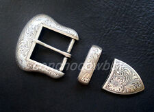 "WESTERN COWBOY ANTIQUE SILVER FLORAL ENGRAVED BELT BUCKLE SET FITS 1-1/2"" STRAP"