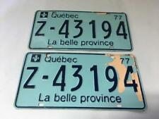 QUEBEC LICENSE PLATE 1977 Z (RENTAL CAR) PAIR SET #Z-43194