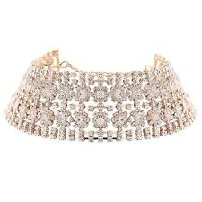 Gold Chunky Floral Crystal Choker Sparkling Diamante Necklace Fashion Jewellery