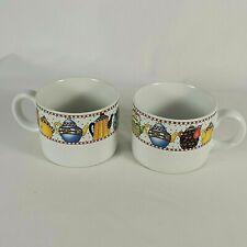 euc Mary Engelbreit Sakura 1994 Afternoon Tea for 2 Coffee Mugs, Pair of Cups