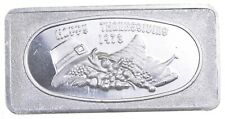 VINTAGE Art Bar Happy Thanksgiving 1973 1 Oz. .999 Silver - One Troy Ounce *054