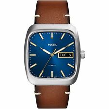 Fossil Mens Rutherford Three-Hand Day-Date Light Brown Leather Watch FS5334