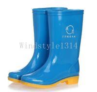 Womens Ladies Waterproof Rain Boots Mid calf Boots Low Block Heel Shoes Plus SZ