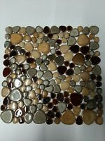 brown round ceramic mosaic indoor or outdoor tiles pebble