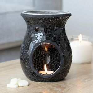 NEW - Beautiful & Homely Large Black Crackle Mosaic Oil Burner Wax Melt Candle