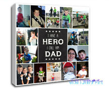"20""x20"" COLLAGE CANVAS PERSONALISED PHOTO GIFT BIRTHDAY FATHERS DAY QUOTE"