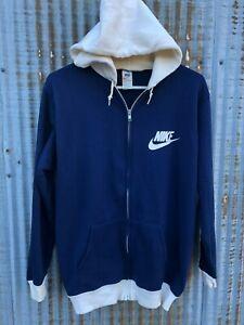 1970s Nike Vintage Sweatshirt Two Tone Block Zip Up Draw String Warm Up SOFT EUC