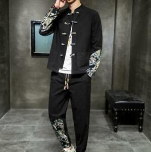 Mens 2PCS Tang Suit Button Up Size Plus Cotton Linend Slim Fit Top Straight Pant
