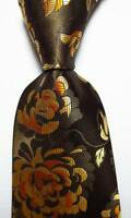 New Classic Floral Brown Gold JACQUARD WOVEN 100% Silk Men's Tie Necktie
