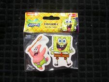SPONGE BOB SQUARE PANTS ERASERS - NEW -  !! SET OF TWO