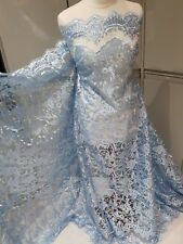 3m SKY BLUE BRIDAL embriouded SCALLOPED LACE  FABRIC 52""