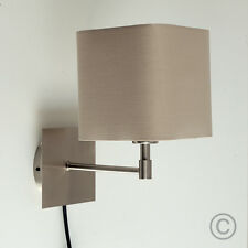 Contemporary Brushed Chrome Wall Light Mink Fabric Squared Shade Plug  Switch