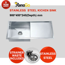 980mm Single Bowl + Single Drainer Under mount or Drop in Kitchen Sink 304 S/S