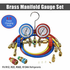 New R134A R12 R22 R502 Diagnostic Brass Manifold Gauge ACME Adapter & 5FT Hoses