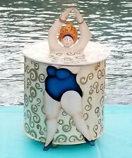 NEW Decorative Tin Metal Canister / Storage w/ Full-Figured Diva Bathing Beauty