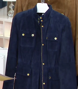Isaac Mizrahi Live! Suede Zip Front Utility Jacket with Gold Hardware, XL