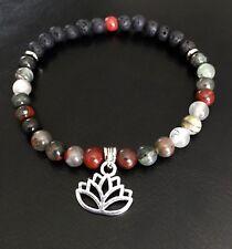 Agate & Jasper Gemstone Ankle Bracelet Lotus Sterling Silver Charm Bead Jewelry