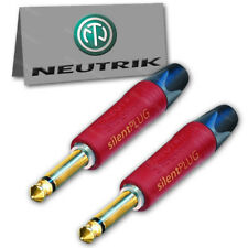 "2-Pack Neutrik NP2X-AU-SILENT 1/4"" Guitar Plug TS Mono Silent Switch Gold NEW"