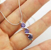 "Stunning Solid 925 Sterling Silver, 3 Purple Amethyst Pendant Necklace 18"" + box"