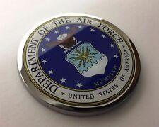 "US AIR FORCE 3D Domed Emblem Badge Car Sticker METAL Chrome Bezel ROUND 3 3/8"""