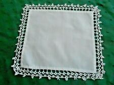 Wonderful Antique White Cotton Doily With Hand Tatted Lace, Circa 1920