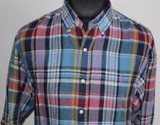 RALPH LAUREN Mens long sleeve Linen cotton shirt check multi XL x large custom