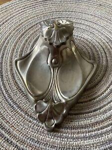 Vintage Art Nouveau Silver Color Ink Well