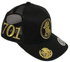 EL CHAPO GUZMAN 701 MEXICO HAT 4 LOGOS BLACK MESH SNAPBACK ADJUSTABLE NEW HAT