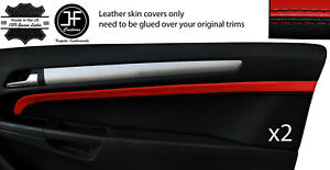 BLACK& RED 2X DOOR CARD TRIM LEATHER COVERS FOR SATURN ASTRA XE H 08+ 3 DOOR