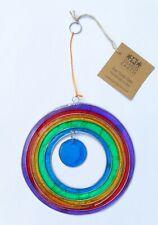 **Beautiful** Fair Trade Round Rainbow Suncatcher 13.5 x 23.5 cm