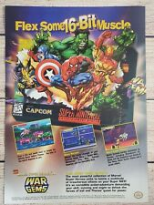 Marvel Super Heroes in War of the Gems Ninteno SNES Vintage Promo Ad Art Poster
