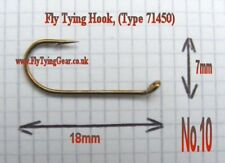 100 x Fly Tying Hook, No.10, Bronzed, (Type 71450)