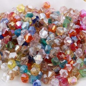 BUY 3 GET 3 FREE 100x Premium Faceted Crystal Bicone Beads 4mm - COLOUR CHOICE