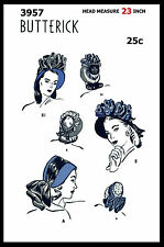 BUTTERICK 3957 VICTORIAN BOW Floral Hats BONNET Fabric Sew Pattern Fascinator 23