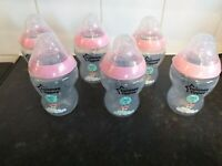 6 X Tommee Tippee Pink decorated 9oz Baby Bottle With Stage 1 Teats New Other