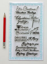 """Clear Stamps Lot (4""""x7"""") Christmas Greeting Saying Vintage Wish FLONZ 824 Rubber"""