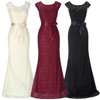 Women's Formal Lace Cap Sleeve Evening Dress Party Prom Bridesmaid WEDDING Gown