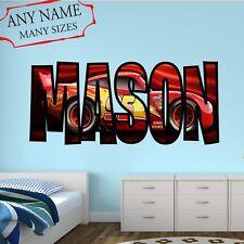 Custom Name Lightning McQueen Wall Decal Cars Movie Wall Art Bedroom Decor Cd05