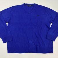 U.S. Polo Assn. Light Knit Sweater Men's 2XL XXL Long Sleeve Blue V Neck Acrylic