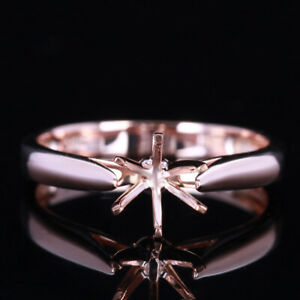 6MM ROUND CUT SOLITAIRE RING SEMI MOUNT ENGAGEMENT RING SOLID 14K ROSE GOLD