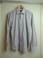 OXFORD Mens sz L, slim fit white purple brown check long sleeve