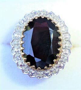 Large 9ct Gold 5.50ct Garnet & Diamond Ring, Size O, Diana Style