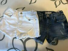 2 x Zara girls shorts denim white & blue cut-offs size 6 years SAME DAY DISPATCH