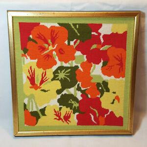 Vintage Needlepoint MC Tropical Flowers Framed Retro 70's Green Orange Red