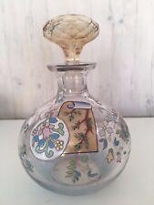 Antique 1900's Large Enamel Glass Decanter Bottle w. Amber Glass Stopper