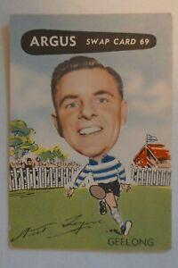 Geelong Cats Vintage 1954 Argus VFL Football Caricature Card Neil Tresize