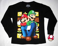 Boys SUPER MARIO BROS Long Sleeve SHIRT SZ 8 MARIO & LUIGI Black  ~ NWT
