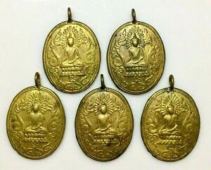 5 Phra coin Buddha Magic Power Rich Wealth Charm Mantra Thai Buddha Amulet